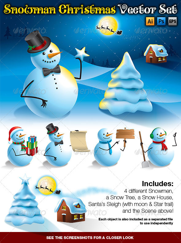 Snowman Christmas Vector Set