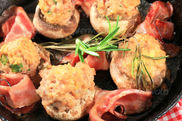Mushrooms stuffed with ground meat - Stock Photo - Images