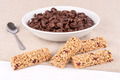 Chocolate cereals and bars with fruits. - PhotoDune Item for Sale