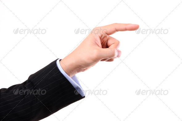 Business man's hand pointing up - Stock Photo - Images