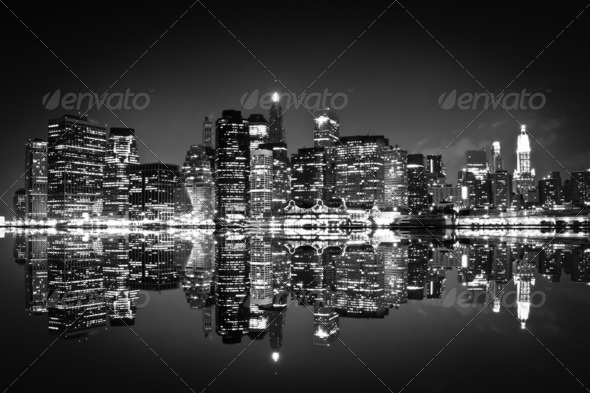 PhotoDune New York at night black and white 2421528