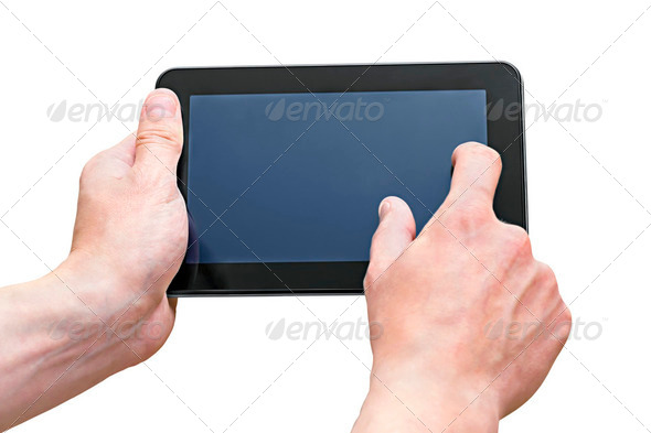 Tablet PCs in the hands of men - Stock Photo - Images