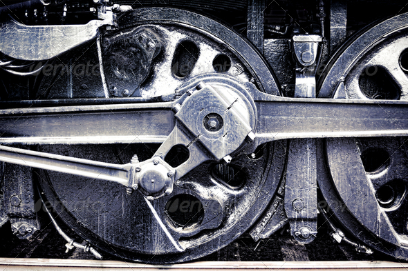 Vintage Steam Locomotive Engine Drive Wheel Grunge - Stock Photo - Images