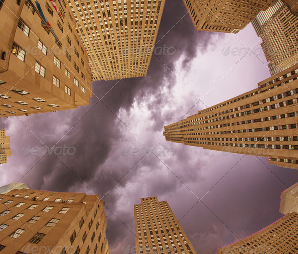 Upward view of Manhattan Office Buildings and Skyscrapers - Stock Photo - Images