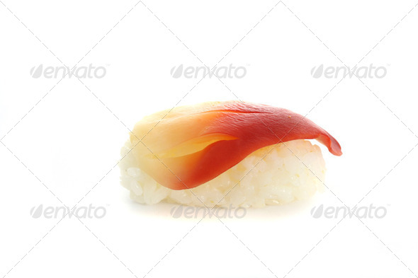Surf clam sushi isolated in white background - Stock Photo - Images