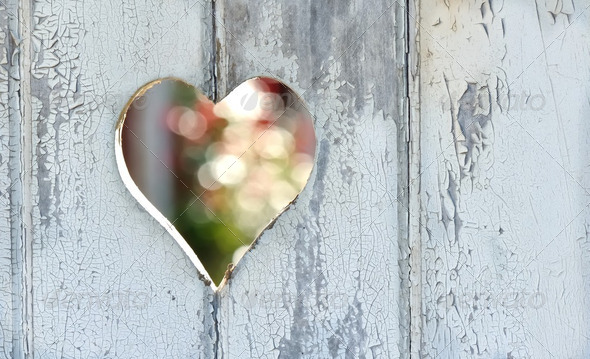 heart on the door - Stock Photo - Images