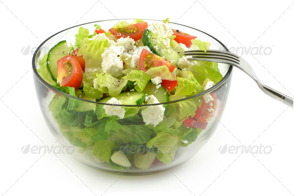Garden salad with feta cheese - Stock Photo - Images