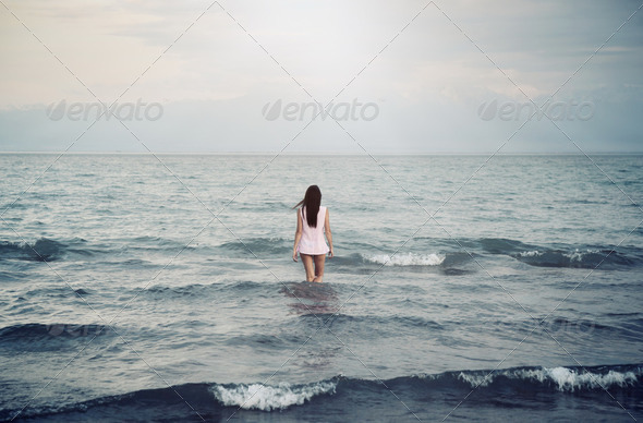 Solitude in sea - Stock Photo - Images