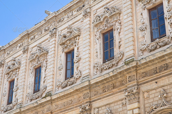 Celestine's palace. Lecce. Puglia. Italy. - Stock Photo - Images