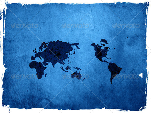 world map vintage artwork - Stock Photo - Images