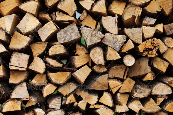 Stacked wood - Stock Photo - Images