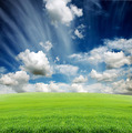 cloudy sky with green grass meadow - PhotoDune Item for Sale