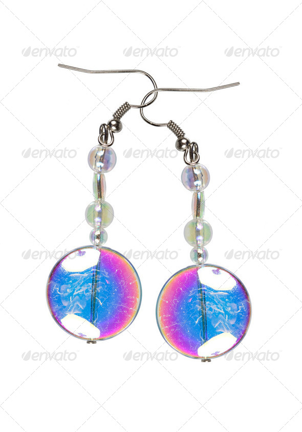 Earrings made of colored glass on a white background - Stock Photo - Images