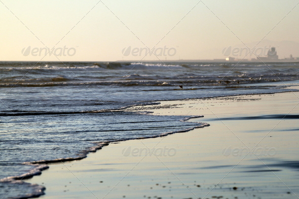 Beach Sunset Ormond Beach - Stock Photo - Images