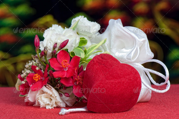 wedding favors and flowers - Stock Photo - Images