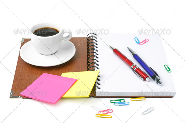 office supplies and coffee cup isolated on white background - Stock Photo - Images