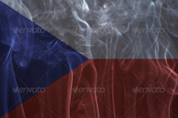 Czech flag overlay on smoke technique. - Stock Photo - Images