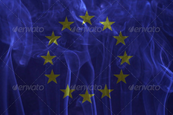 Euro flag overlay on smoke technique. - Stock Photo - Images