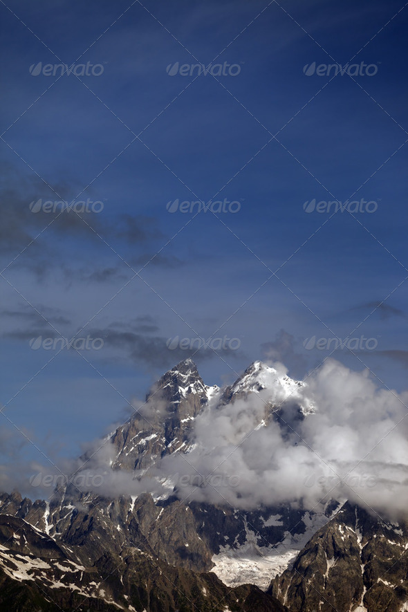 High mountains in clouds. Caucasus Mountains, Georgia - Stock Photo - Images