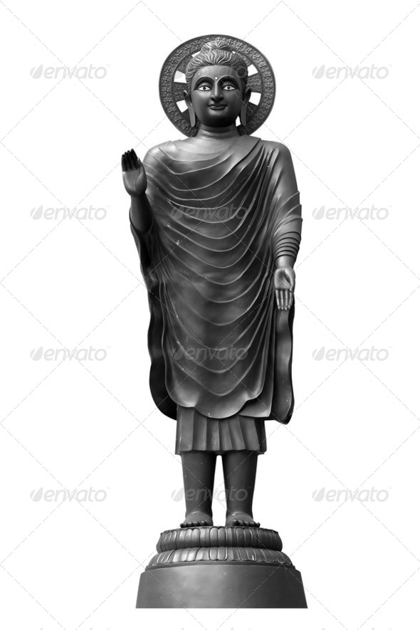 Statue of Buddha and a lotus flower - Stock Photo - Images