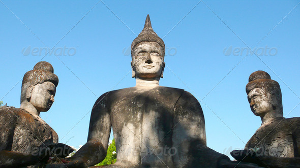 Famous historic buddha sculpture in the Laos - Stock Photo - Images