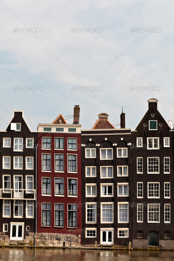 Row of canal houses in Amsterdam - Stock Photo - Images