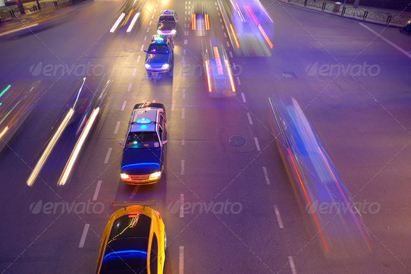 Night traffic in Shanghai - Stock Photo - Images