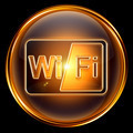 WI-FI icon golden, isolated on black background.