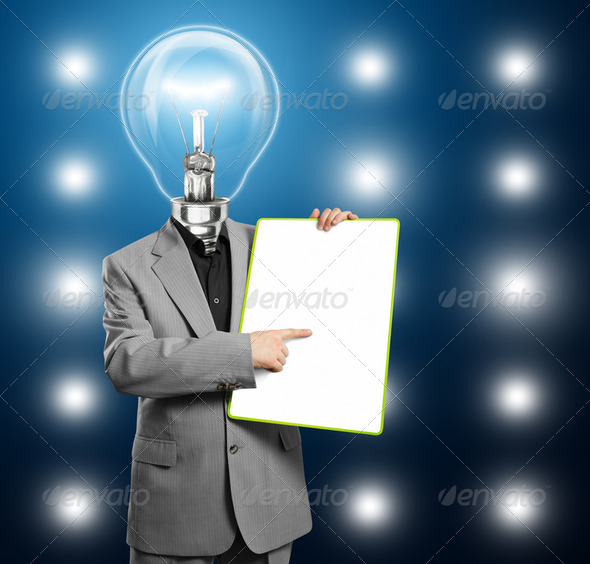 Lamp Head Business Man With Empty Write Board - Stock Photo - Images