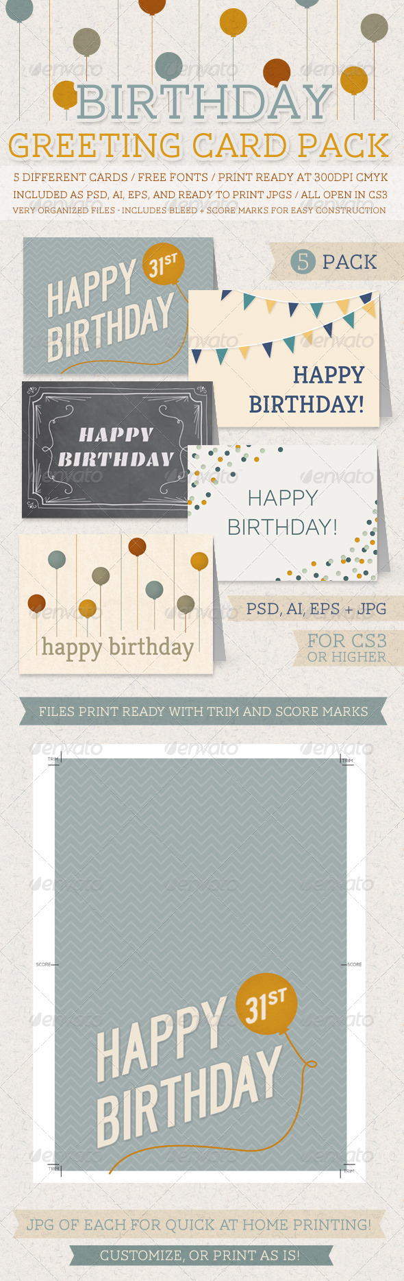 GraphicRiver Birthday Greeting Card Pack 3353884