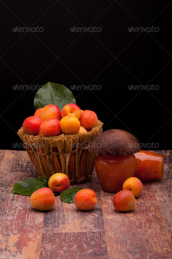 Fresh Apricots And Apricot Jam - Stock Photo - Images