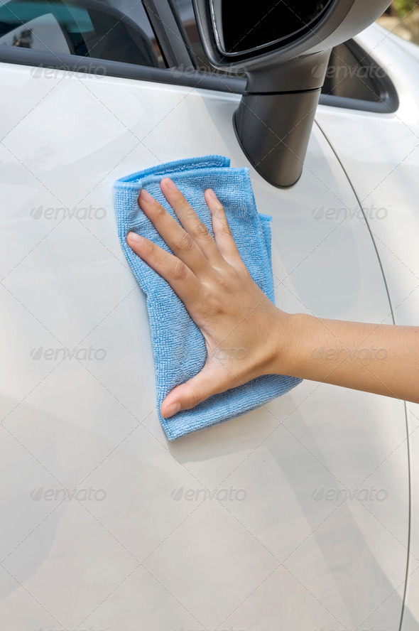 Cleaning New Car - Stock Photo - Images