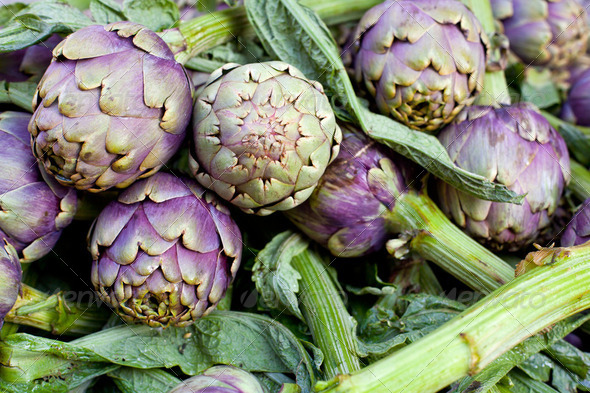 Fresh green artichokes - Stock Photo - Images