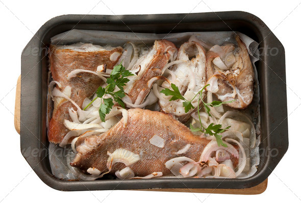 Baked rosefish - Stock Photo - Images