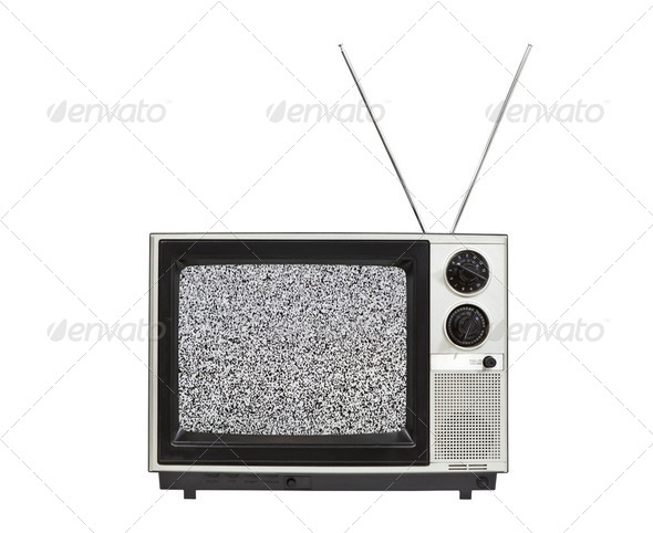 Static Screen Portable TV with Antennas Isolated - Stock Photo - Images
