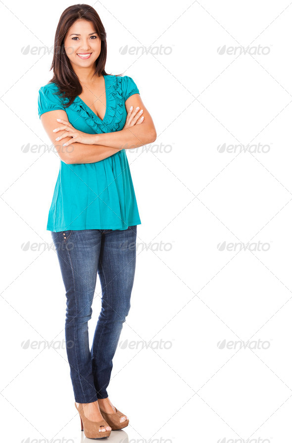 Casual woman standing - Stock Photo - Images