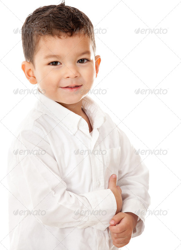 Cute boy isolated - Stock Photo - Images