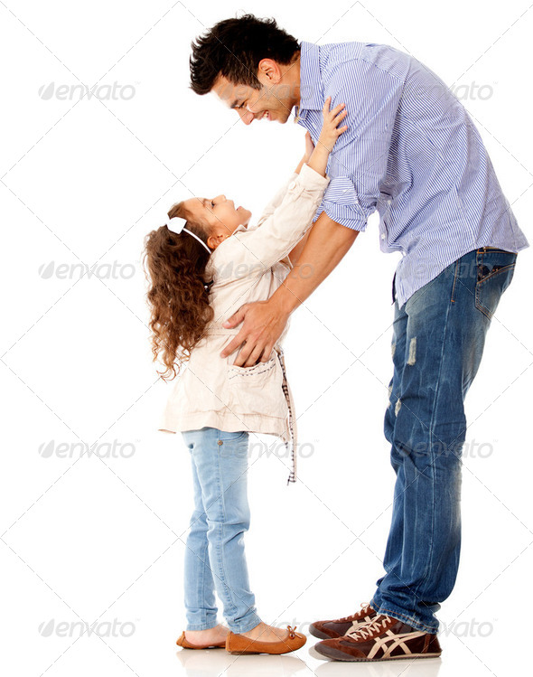 Girl hugging her father - Stock Photo - Images