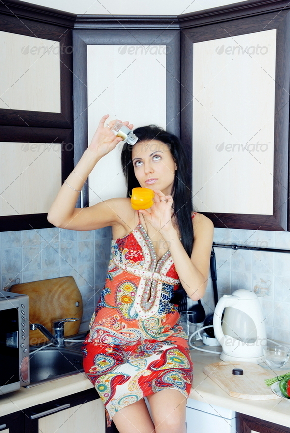Lady at the kitchen - Stock Photo - Images