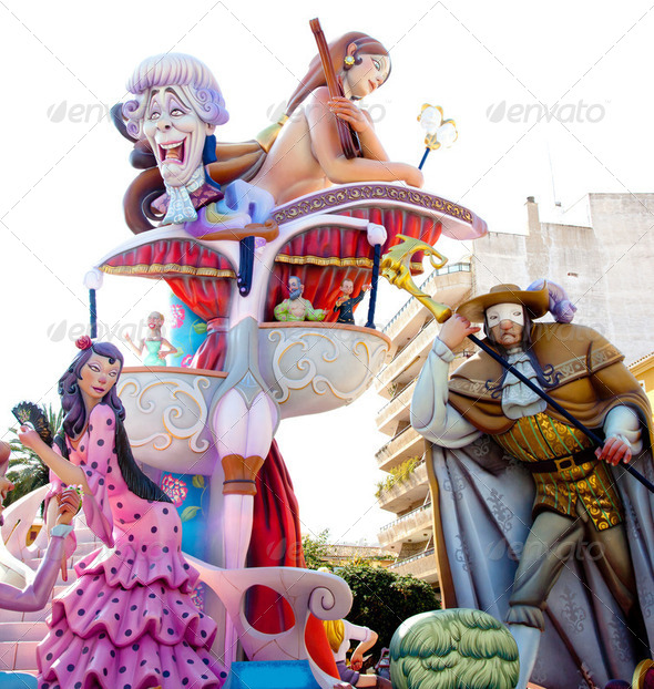 Fallas fest figures on Valencia province - Stock Photo - Images