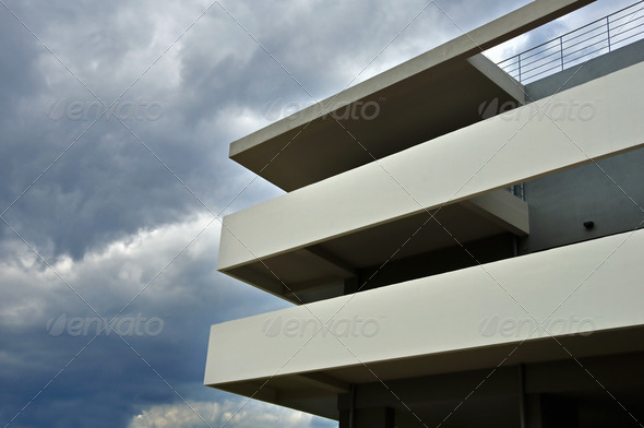 building facade stormy weather - Stock Photo - Images
