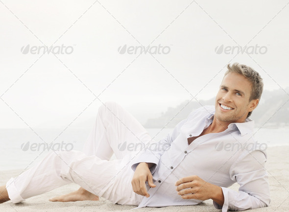 Lifestyle male model with smile - Stock Photo - Images