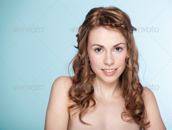 beauty image of young, blonde woman, natural looking, smiling. - Stock Photo - Images