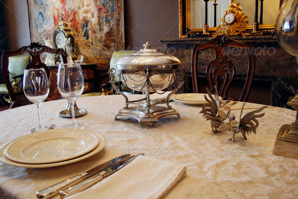 Luxury antique tablesetting - Stock Photo - Images