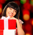 Portrait of a smiling woman holding gift boxes - PhotoDune Item for Sale