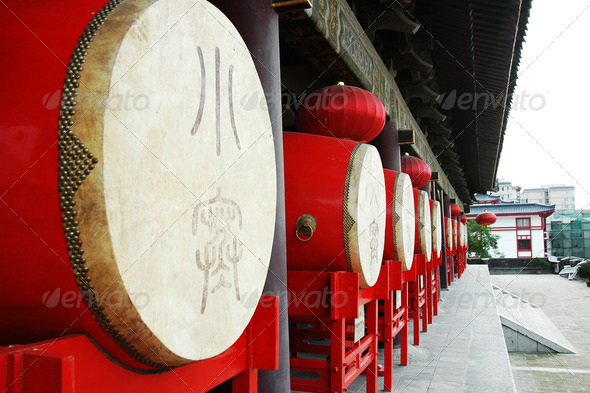 Row of Chinese traditional drums at the Drum Tower in Xian - Stock Photo - Images