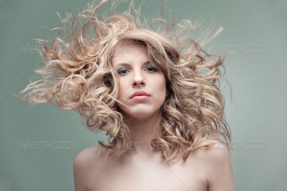 fashion portrait curly blonde - Stock Photo - Images