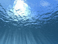 Beams of the sun under water