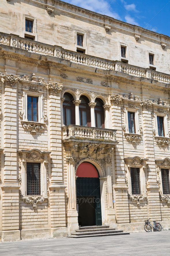 Seminary palace. Lecce. Puglia. Italy. - Stock Photo - Images