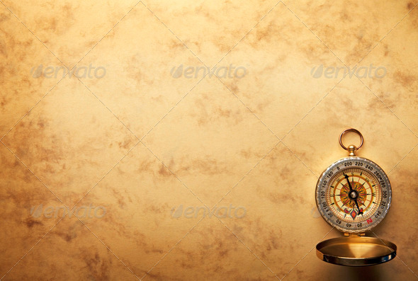 Compass On The Old Paper Background Stock Photo Photodune